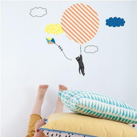 cat flying wall sticker