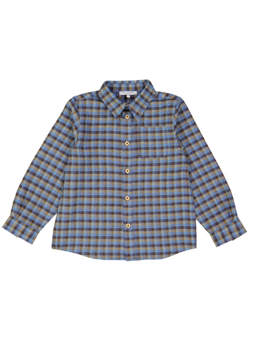 Shirt, Blue Brown Checks