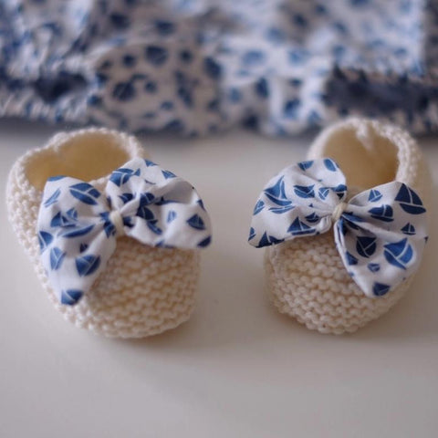 Knitted Bootee - Blue Boat