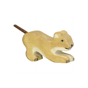 Wooden Young Lion Figurine