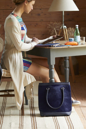 Dark blue cow hide tote