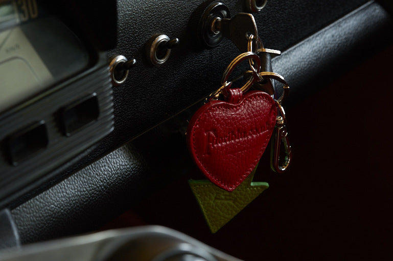 leather arrow and heart key rings which can be personalised