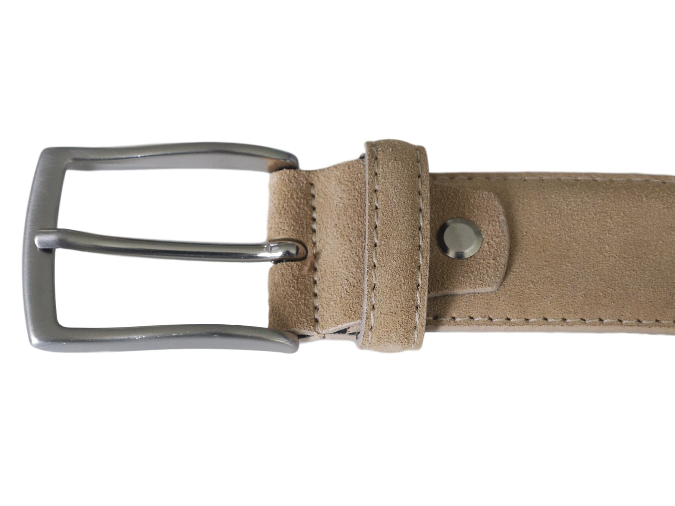 Beige suede leather belt with nickel buckle