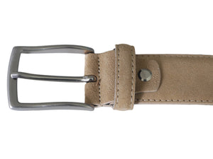 Beige suede leather belt with nickel free buckle