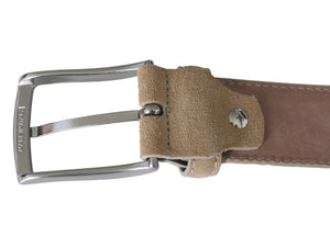 Beige suede belt  with nickel buckle back