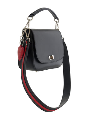 Black Leather saddlebag with stripe handle
