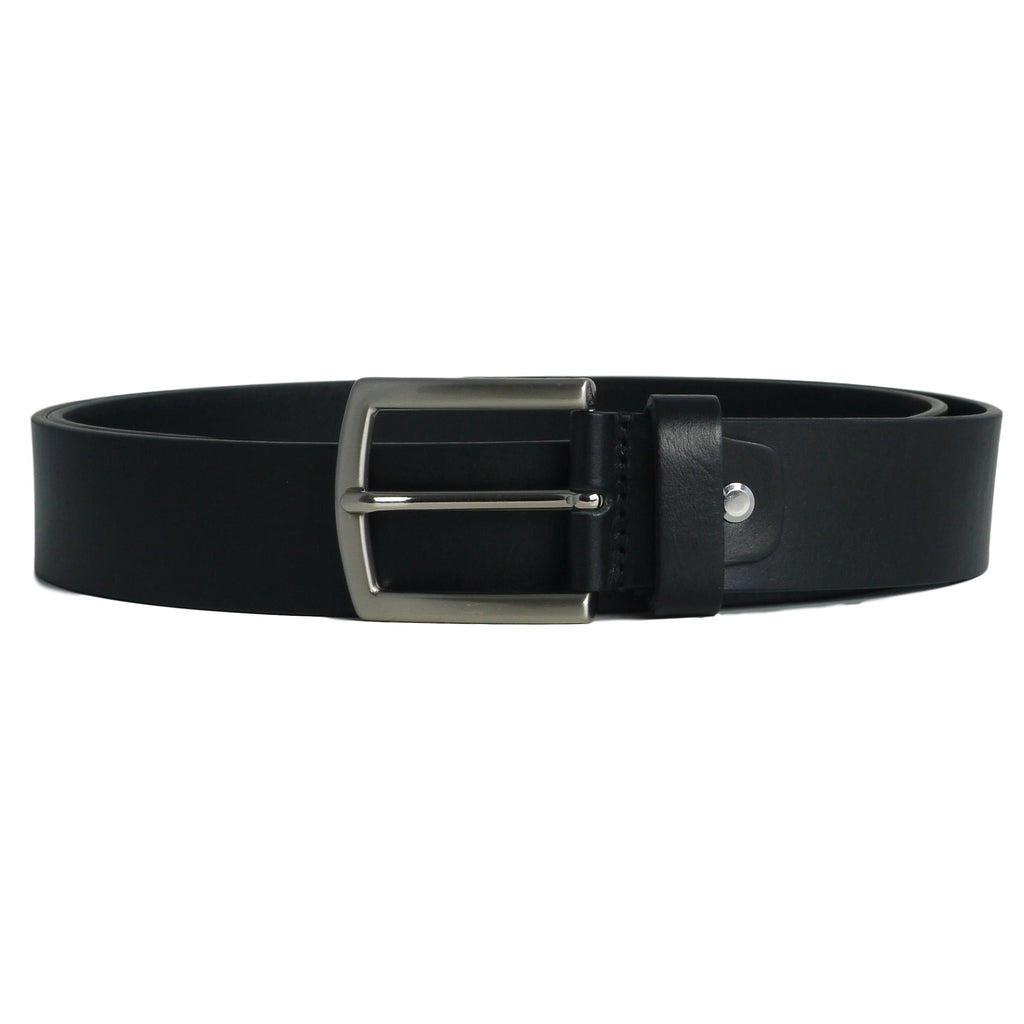 wide cowhide plain black belt without stitching