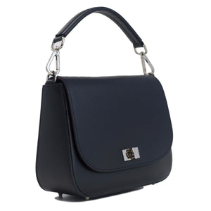 Black saffiano leather saddle bag