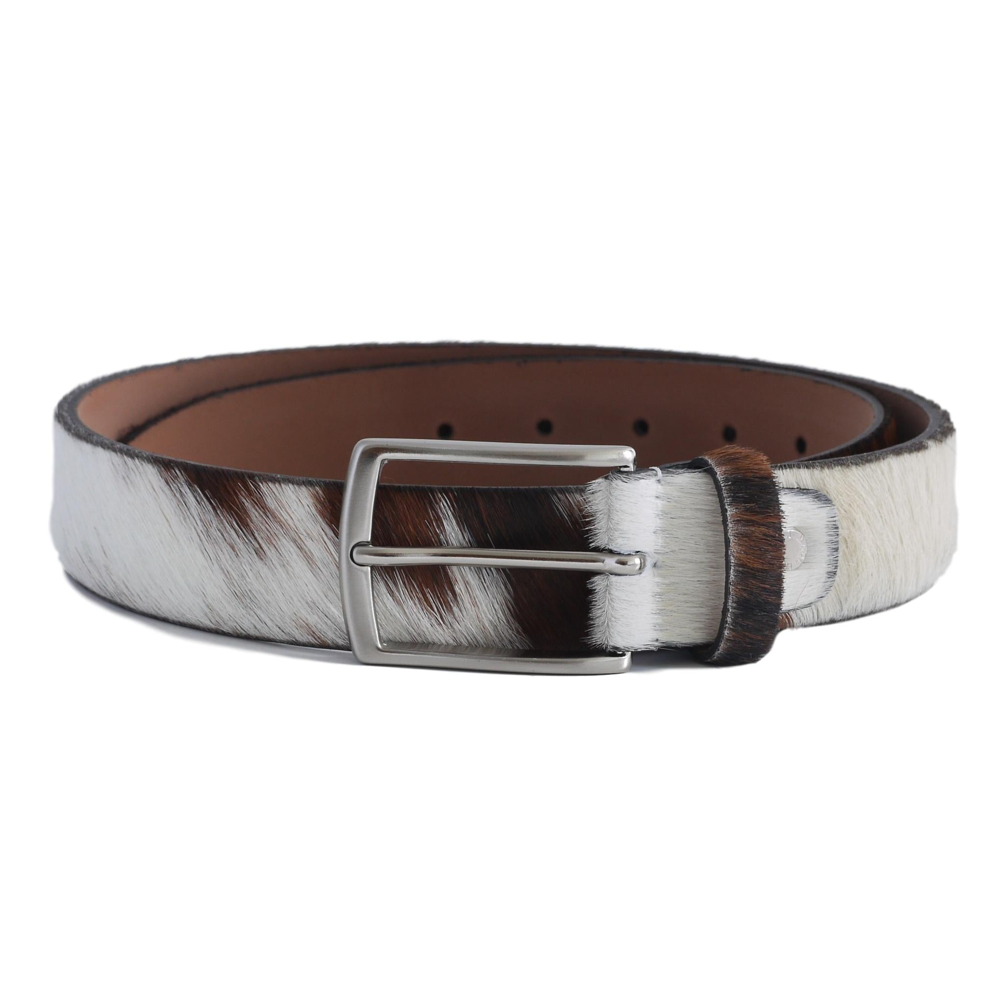 brown white cow hide belt