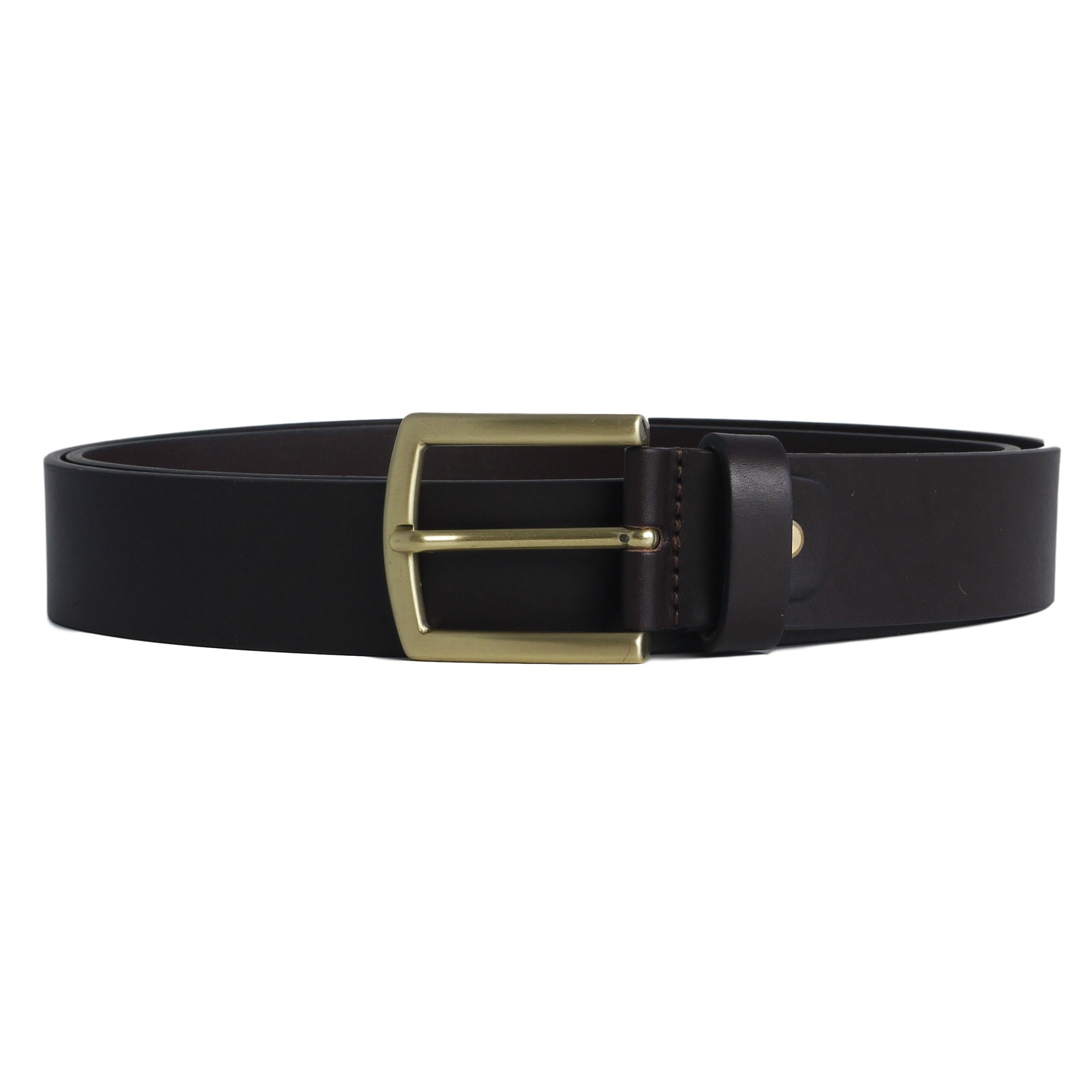 Dark brown thick leather belt