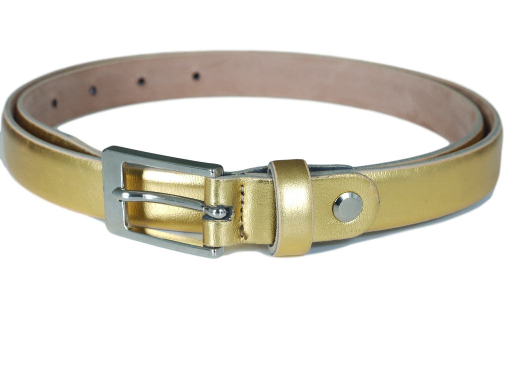 gold coloured leather skinny belt
