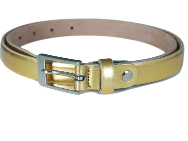 Gold Skinny Leather Belt - Astelia Range
