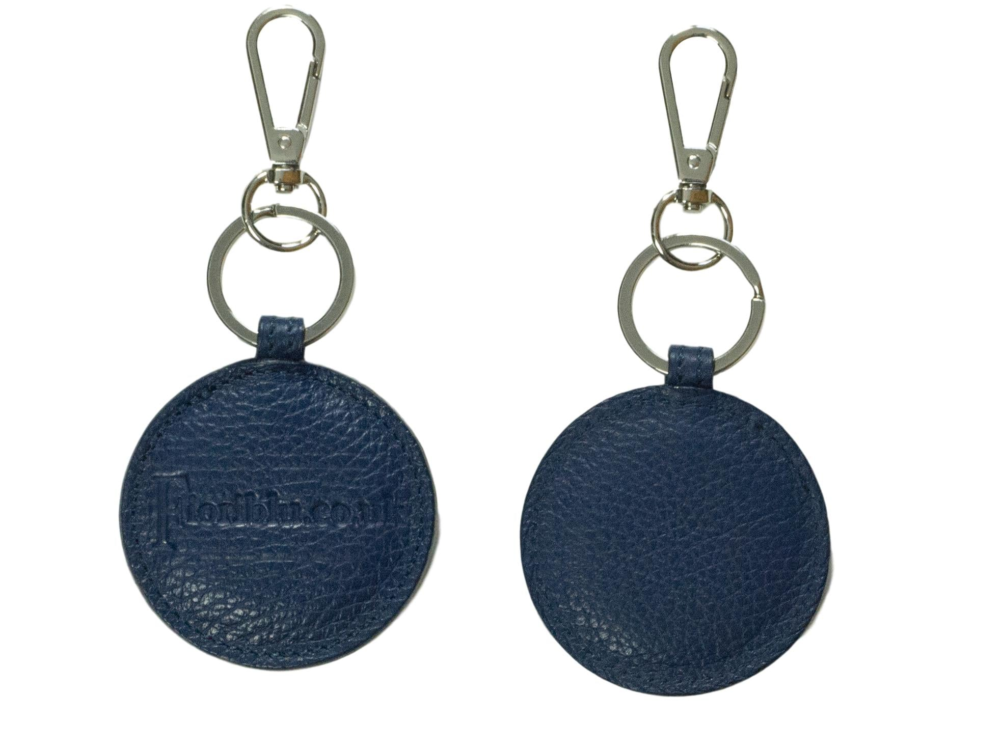 round key fob key ring blue