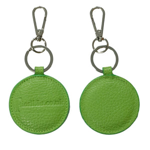 Green round leather key fob key ring