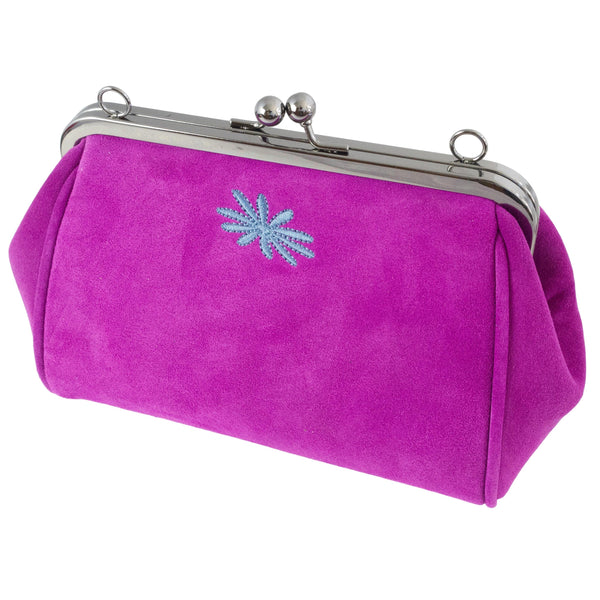 pink leather suede purse style clutch bag