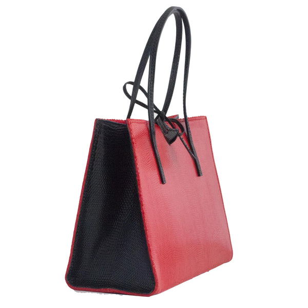 Crocus bag - Red and Black Lizard Print