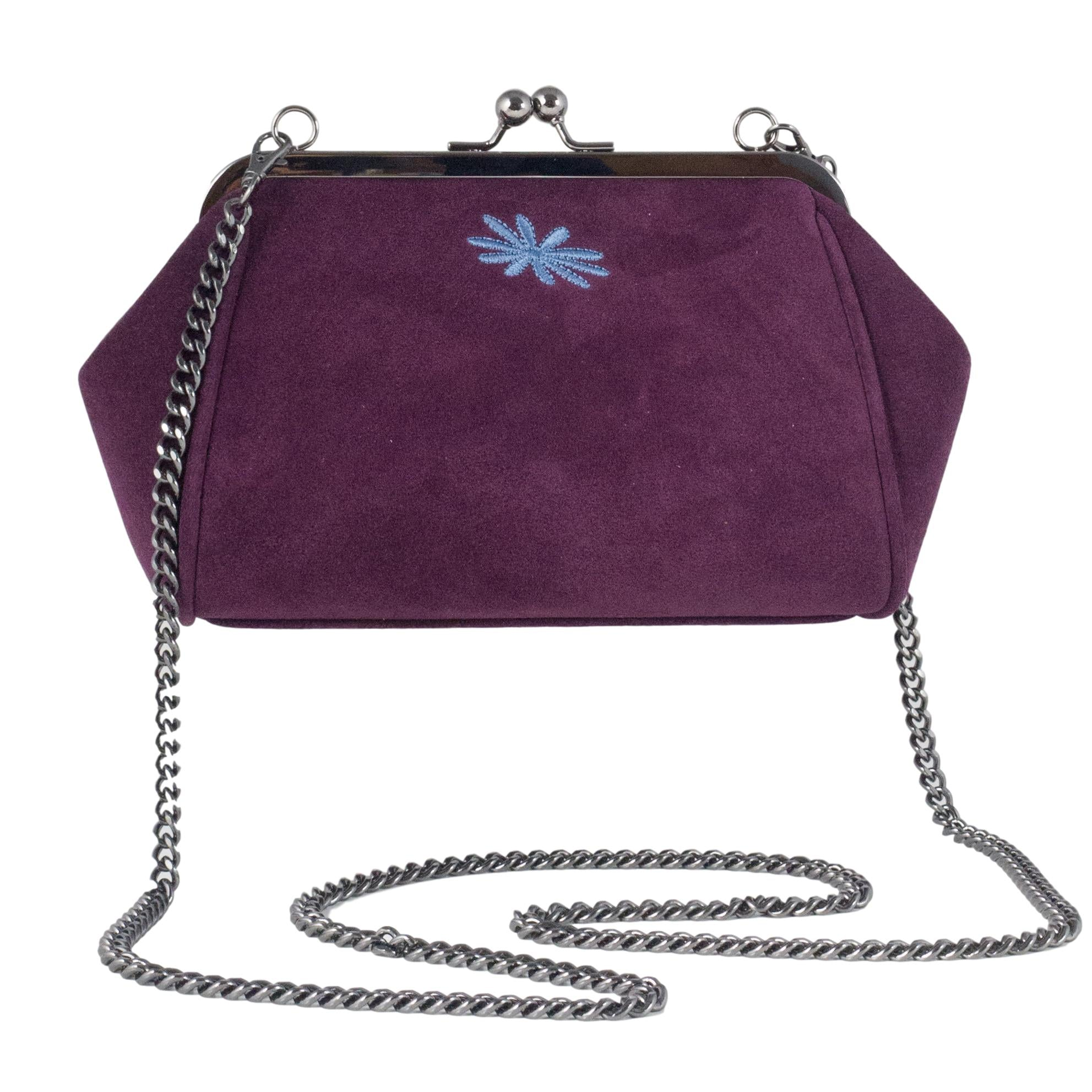 berry bordeaux suede leather clutch purse style bag
