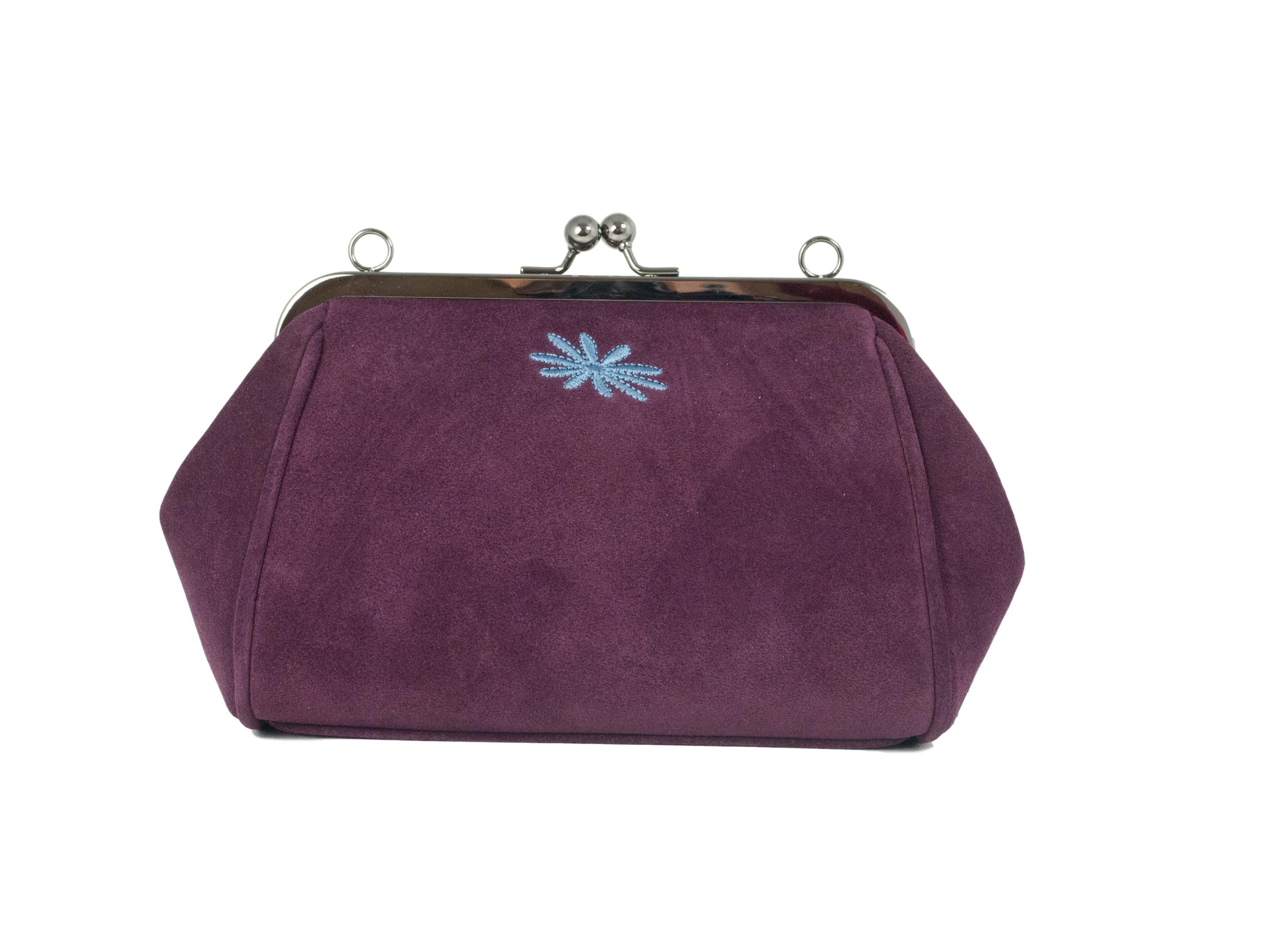 berry purple suede leather clutch purse style bag