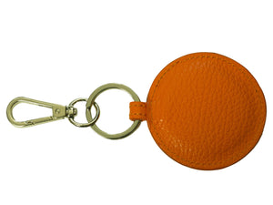 Orange leather round key ring key fob