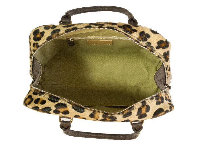 leopard print furry leather bowling bag interior