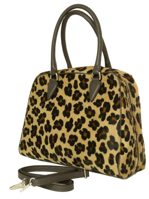 leopard print furry leather bowling bag