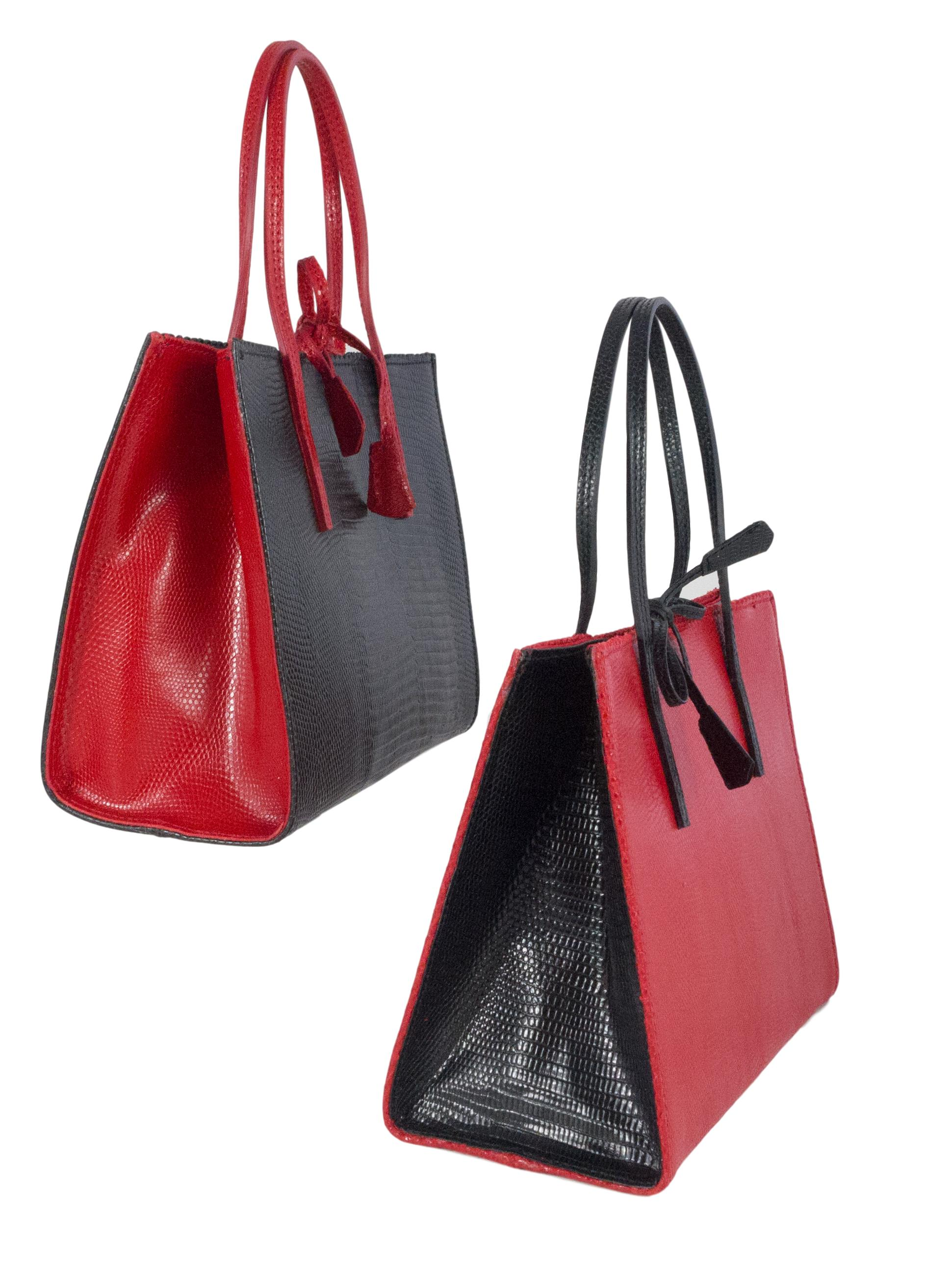 2 tone black and red mock lizard occasion leather bags