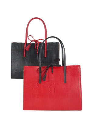 Mock lizard 2 tone black and red handbags