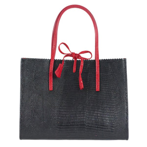 Black and red mock lizard leather bag