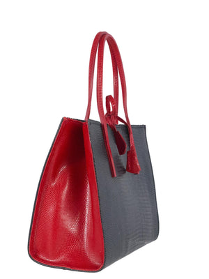 Black and red mock lizard leather bag side view