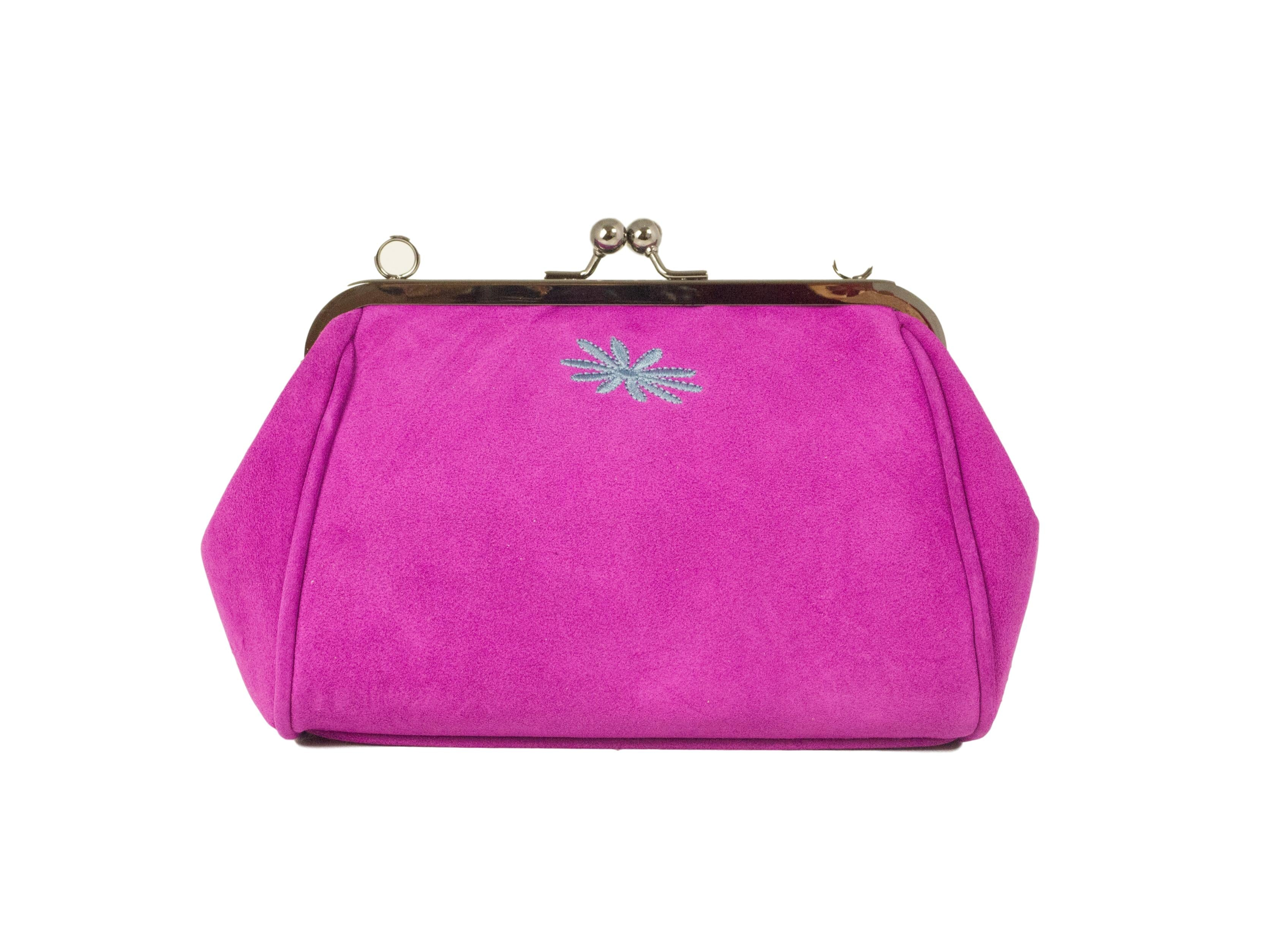 pink suede leather purse style clutch bag