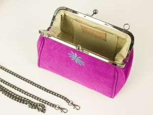 pink suede leather purse style clutch bag with chain