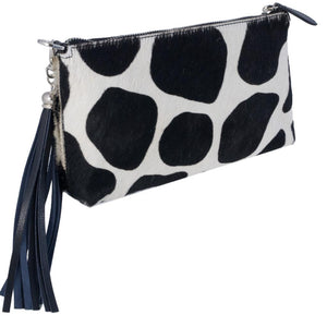 black and white cow hide cross body clutch bag