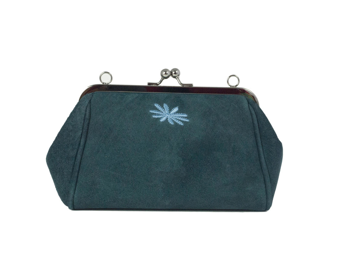 teal green suede purse style clutch bag