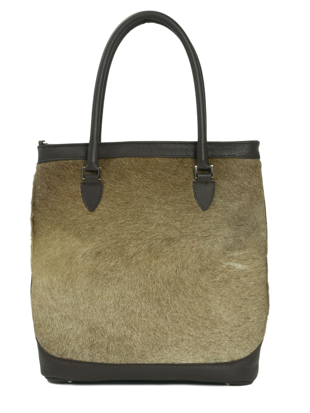 Furry cow hide leather brown tote