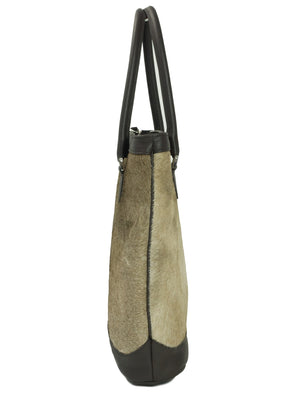 Furry cow hide leather Hebe Tote bag side