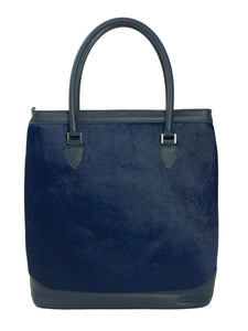 Navy Blue cow hide tote front
