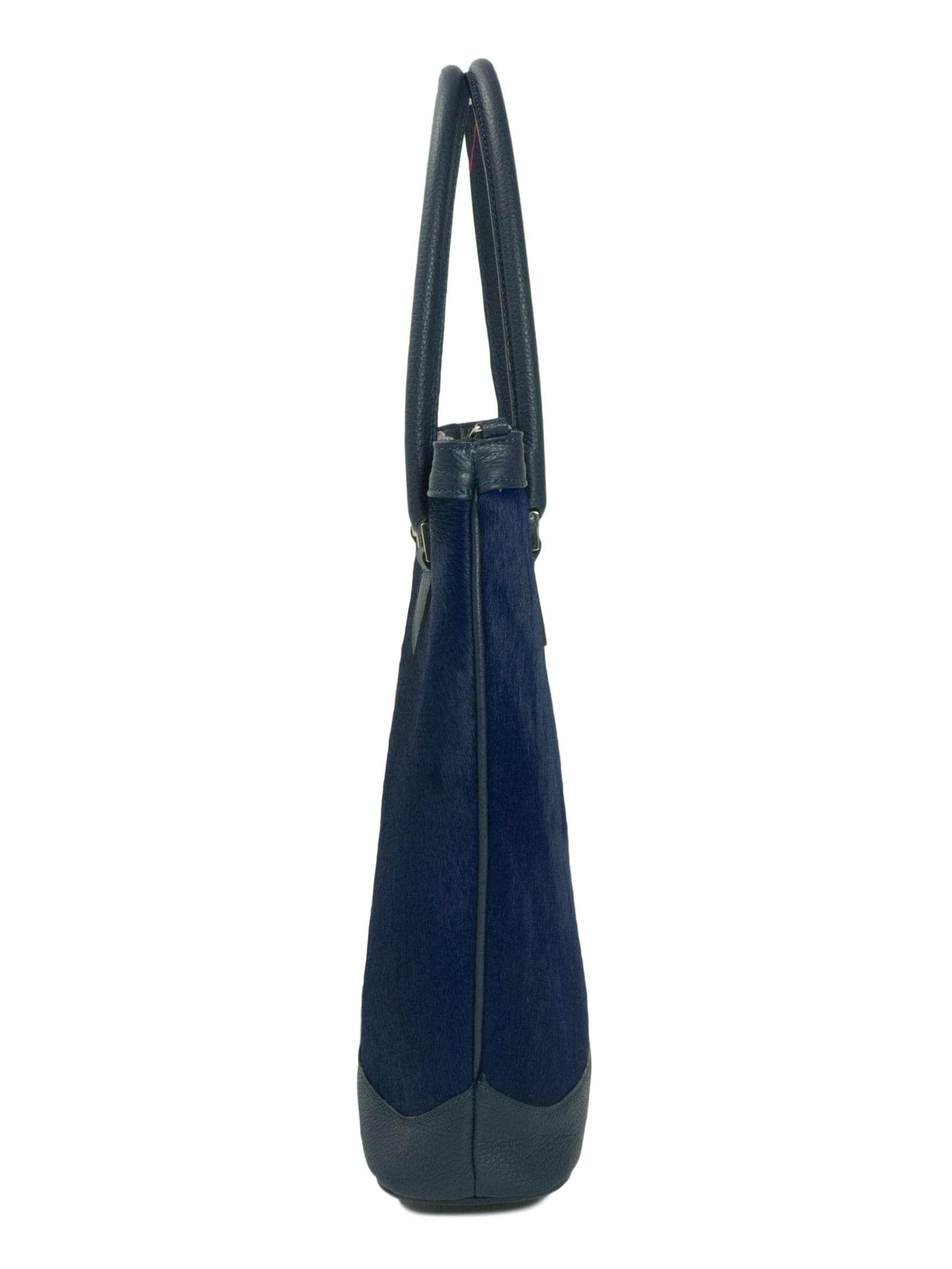 Navy Blue furry leather Tote side