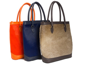 cow hide tote colour range