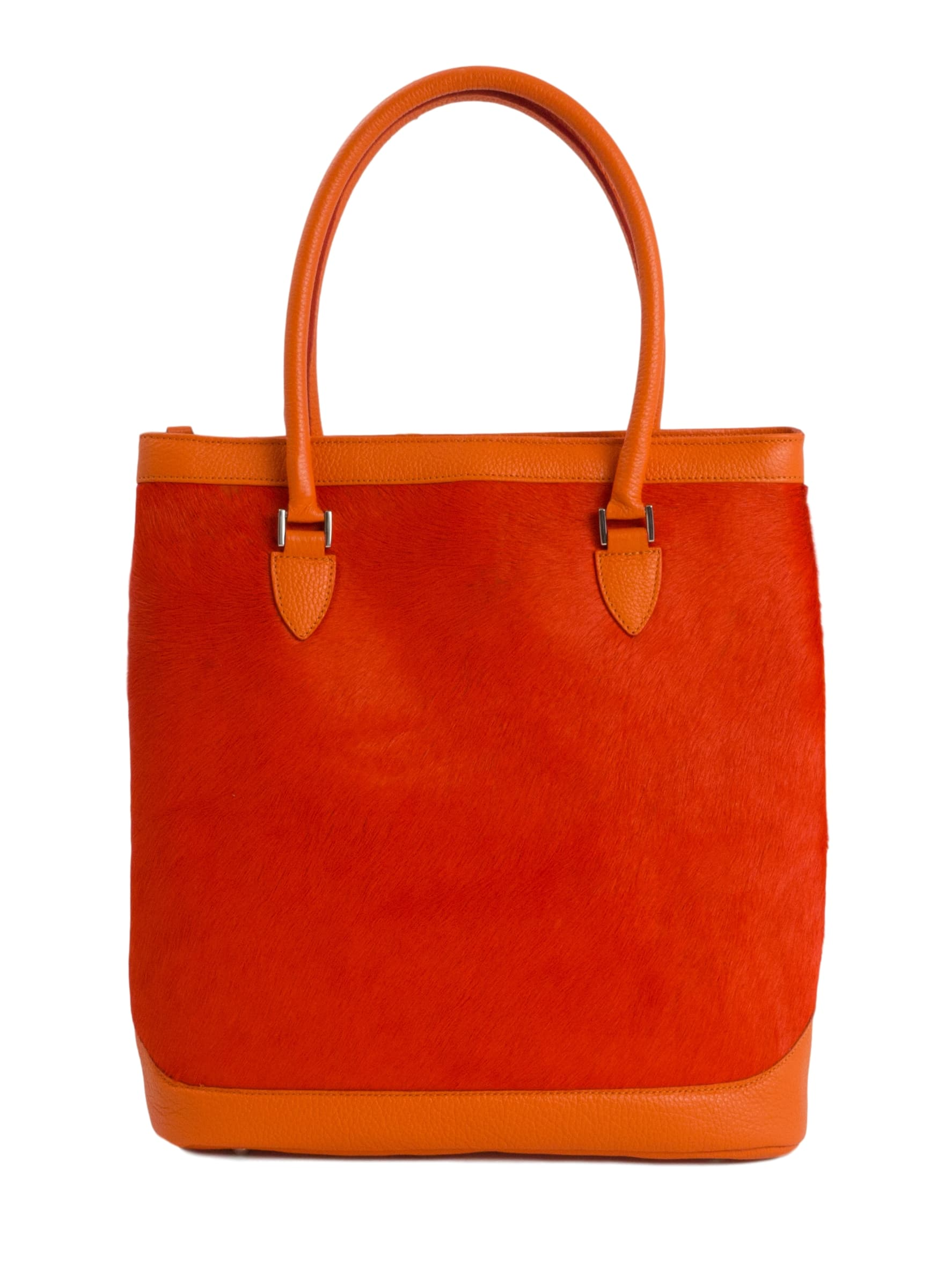 Orange calfskin furry tote bag