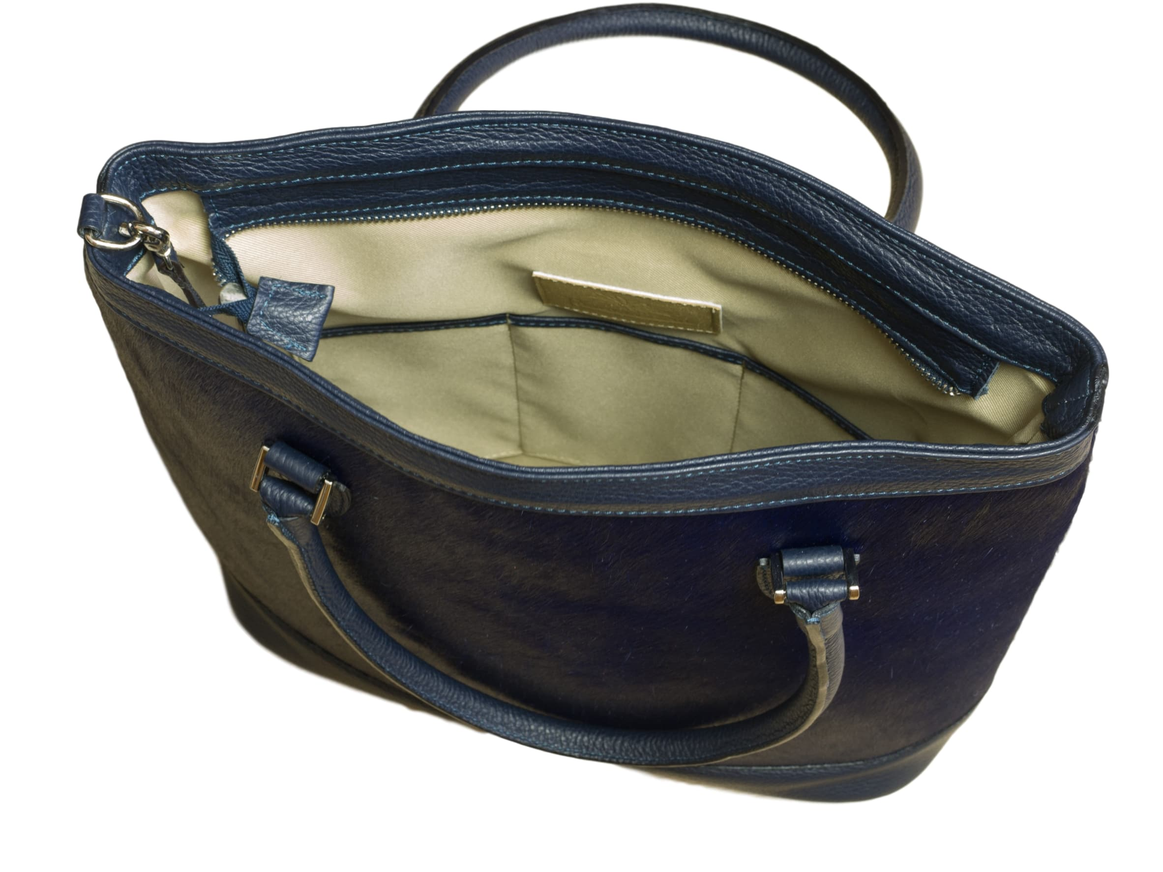 Navy Blue cow hide tote