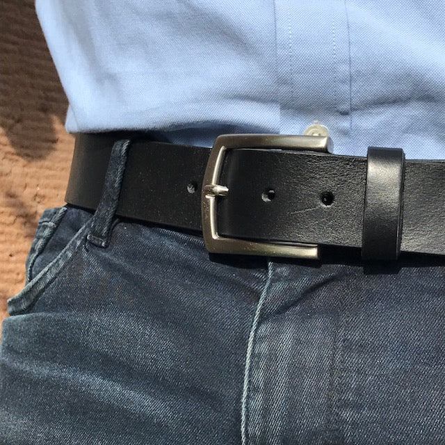 chunky black leather belt