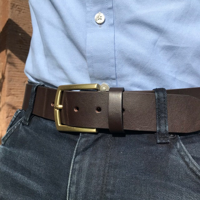 Chunky brown leather belt