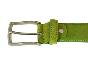 Lime green suede leather Belt buckle
