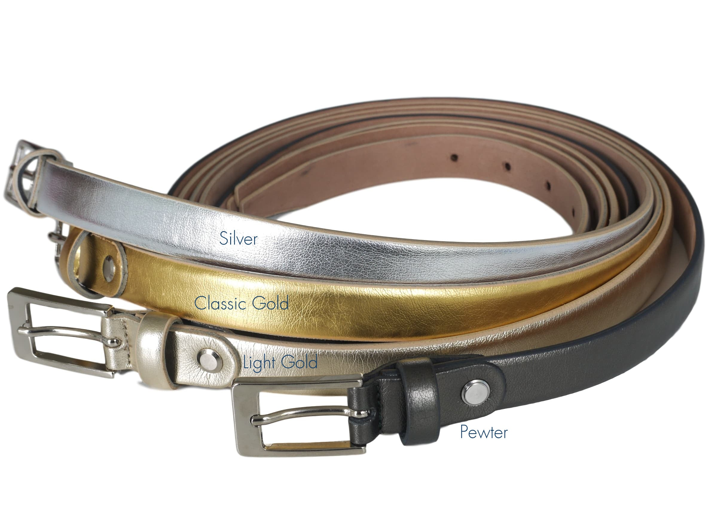 metallic slim leather belt range