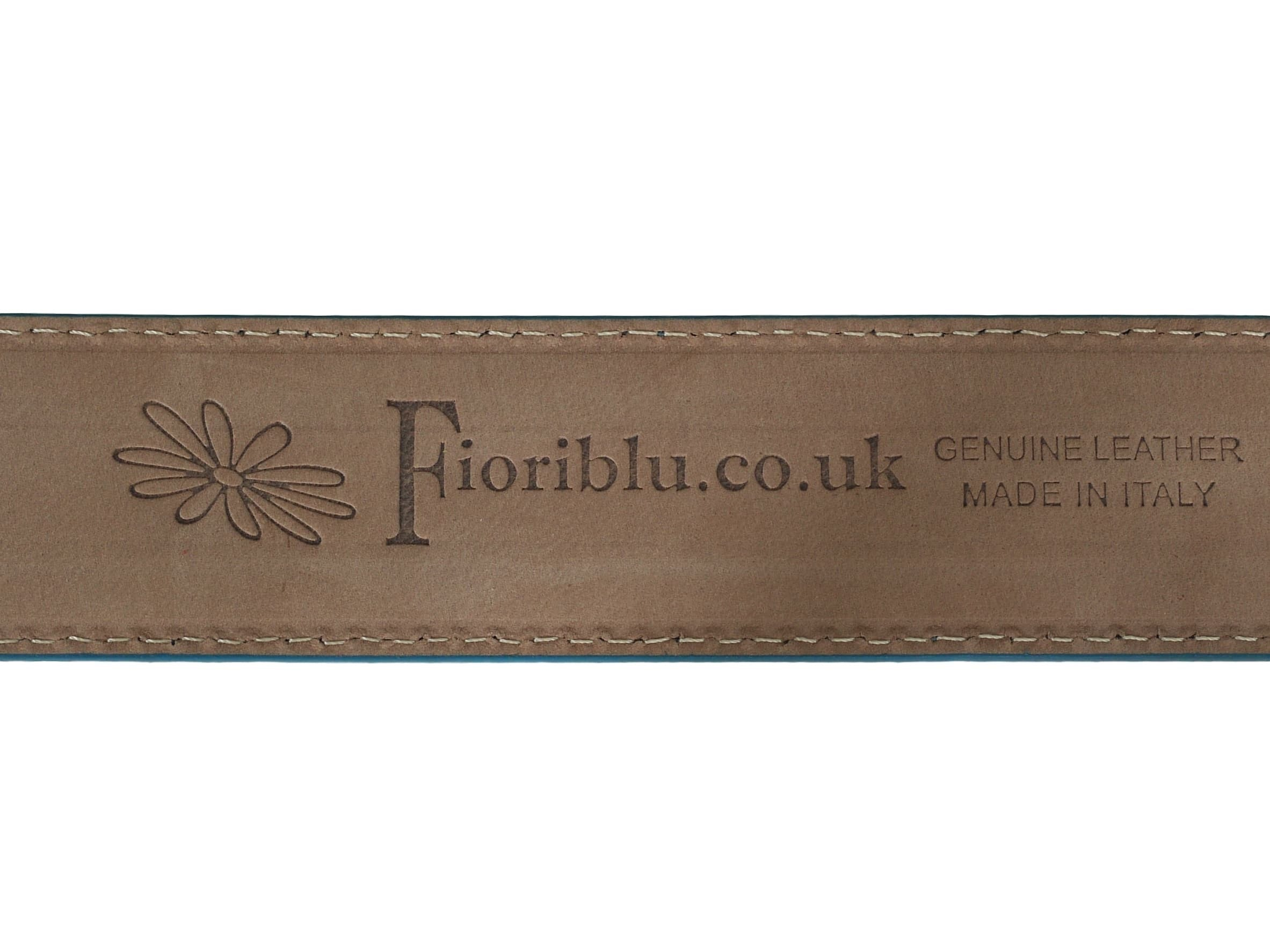Blue suede leather belt reverse
