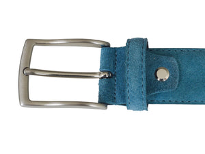 Blue leather  suede belt buckle