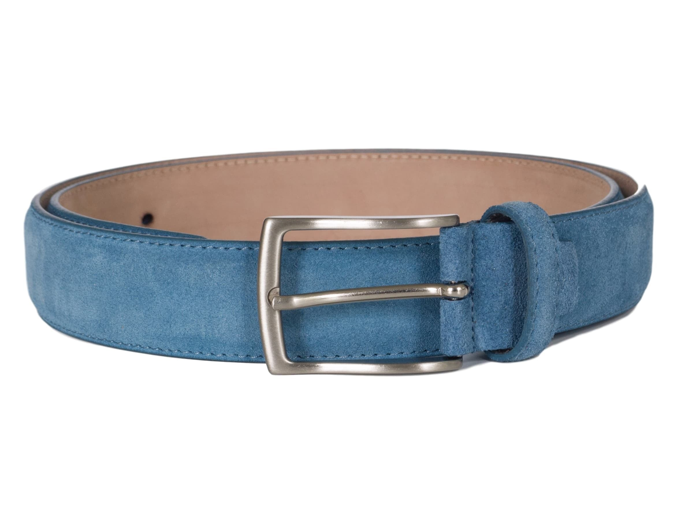 Mid Blue Suede Leather Belt