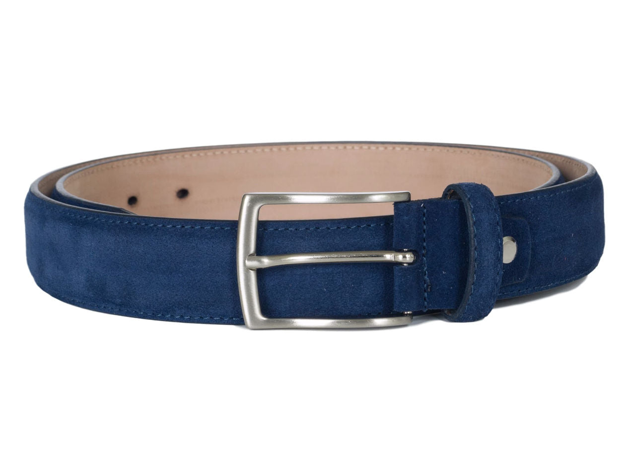 Navy blue suede leather belt