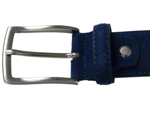 Navy suede leather belt nickel coloured buckle