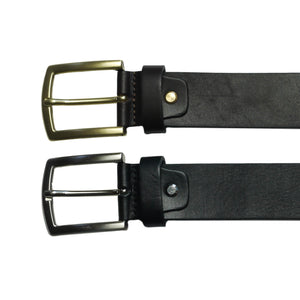 black and brown cow hide thick leather belt